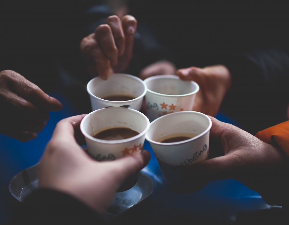 People are offered a warm drink.